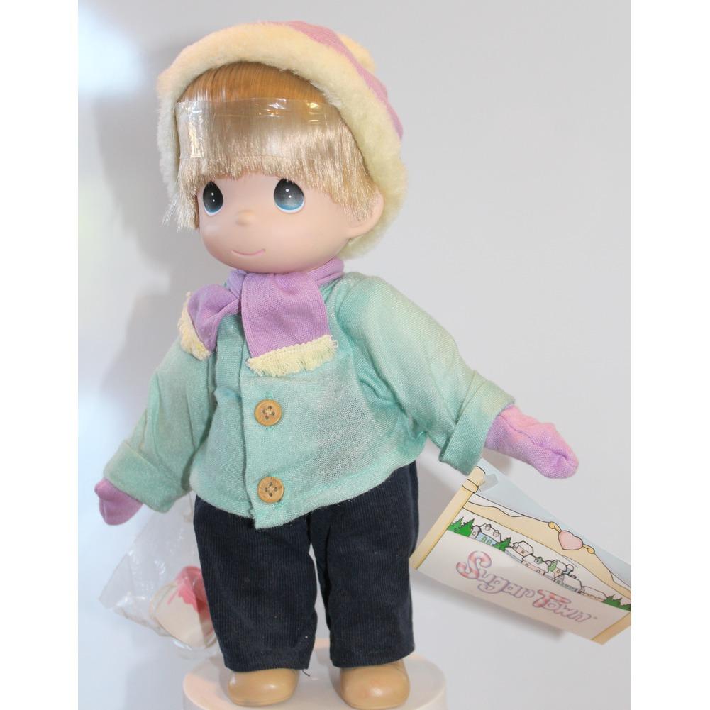"""Precious Moments Doll 12"""" Little Boy Sugar Town Winter Fun"""