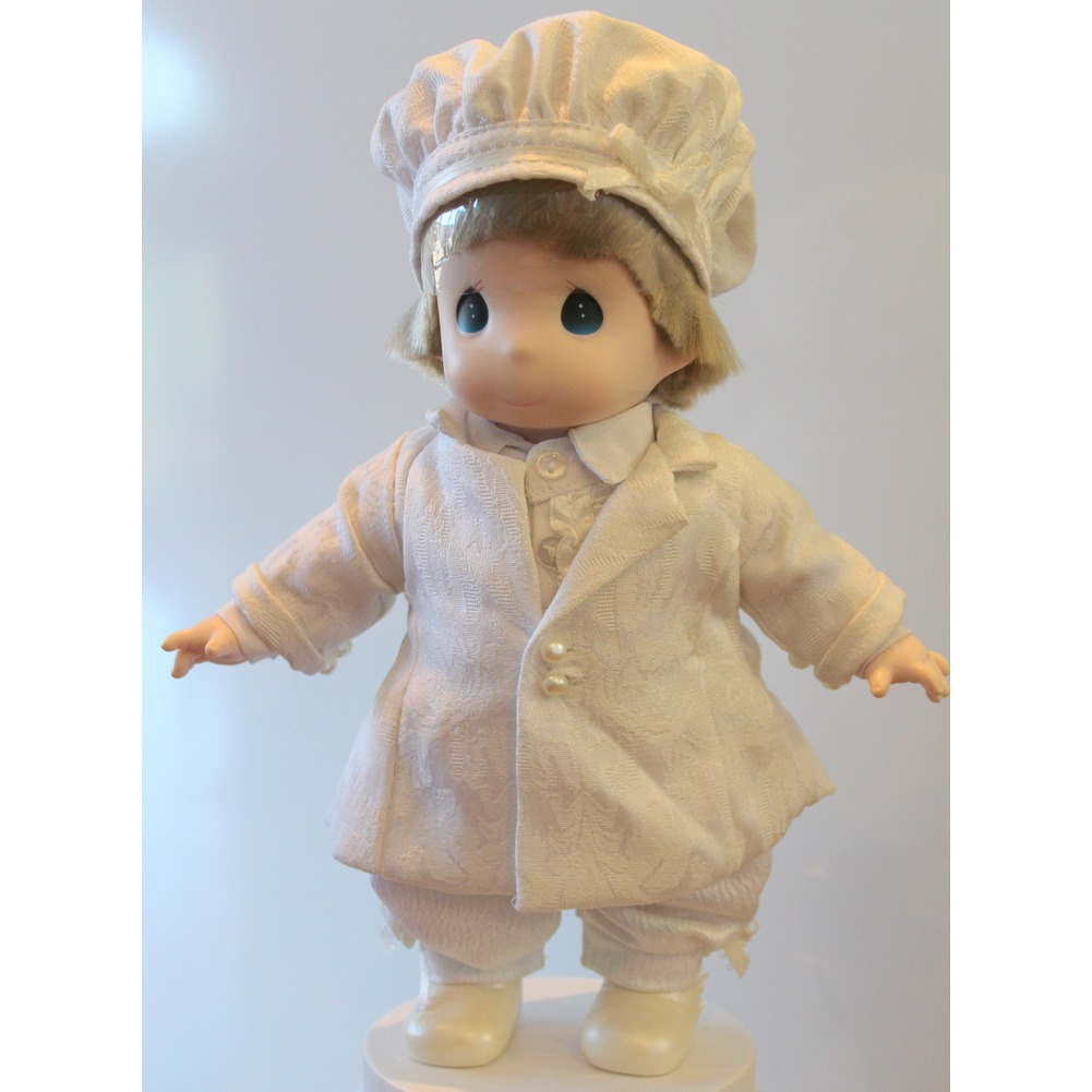 "Precious Moments Doll 12"" Winter Whites Little Girl in Coat and Hat Set"