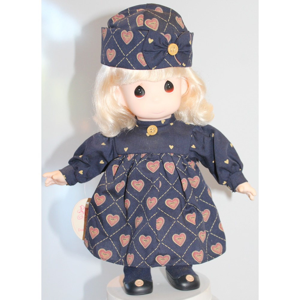 "Precious Moments Doll 12"" Liza Little Girl in Navy Heart Print Dress and Hat"