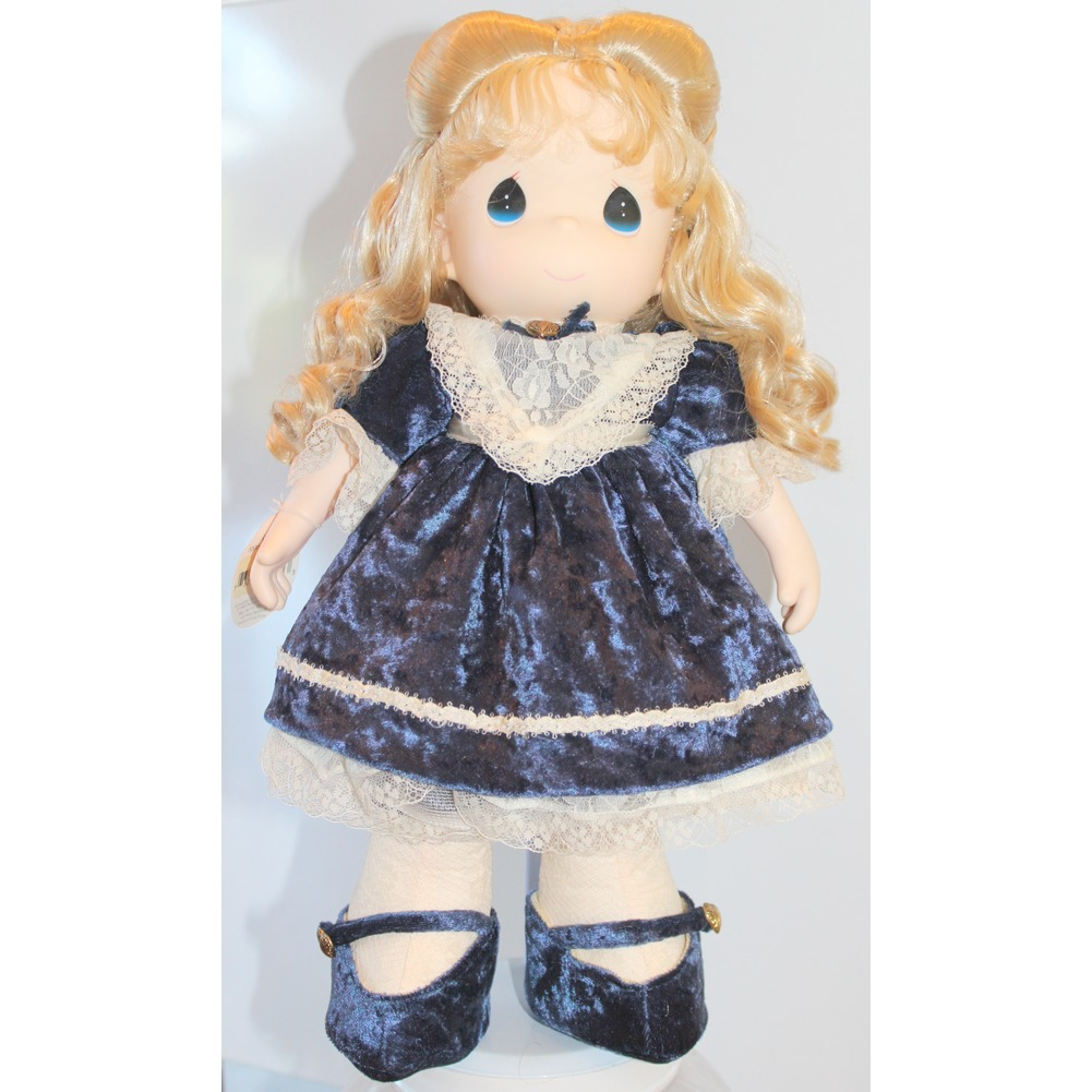 "Precious Moments Doll 16"" Little Girl with Ringlets and Navy Dress"
