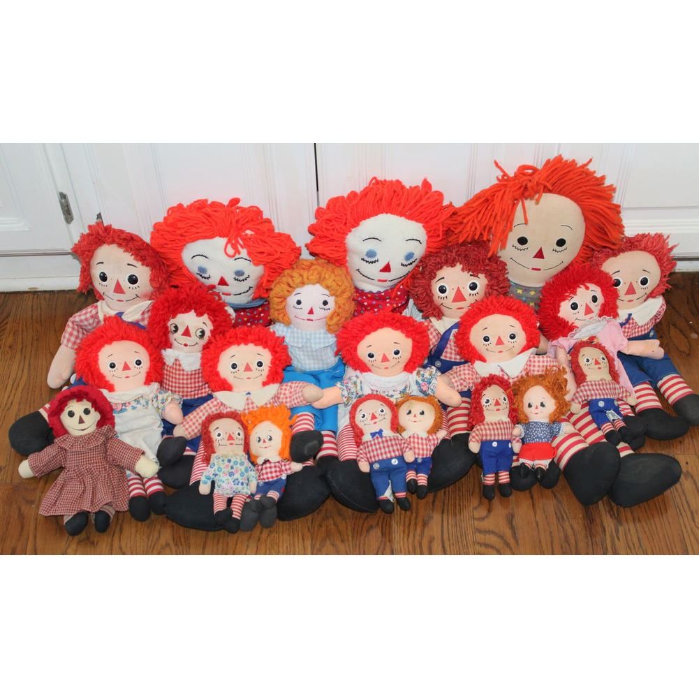 Knickerbocker Raggedy Ann and Andy Plush Cloth Doll Lot Red White & Blue