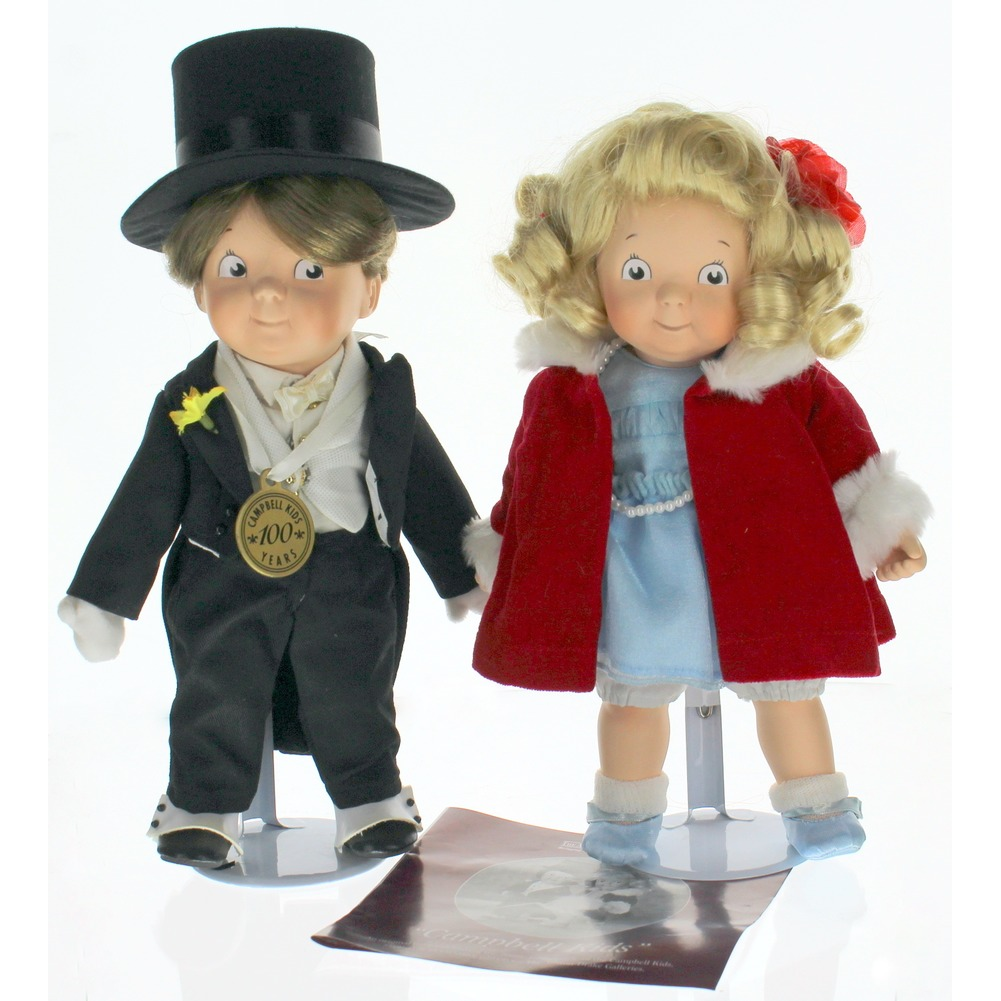 Campbell Kids 100th Anniversary Ashton Drake Gallery Boy and Girl Porcelain Doll