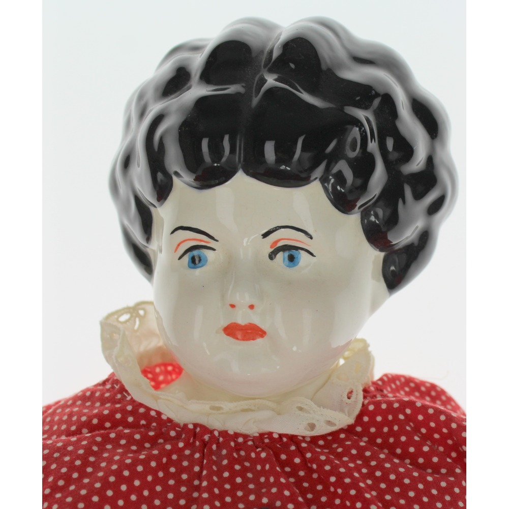 "Vintage Style Antique China Head Black Hair Blue Eyes Red Dress 20"" tall"