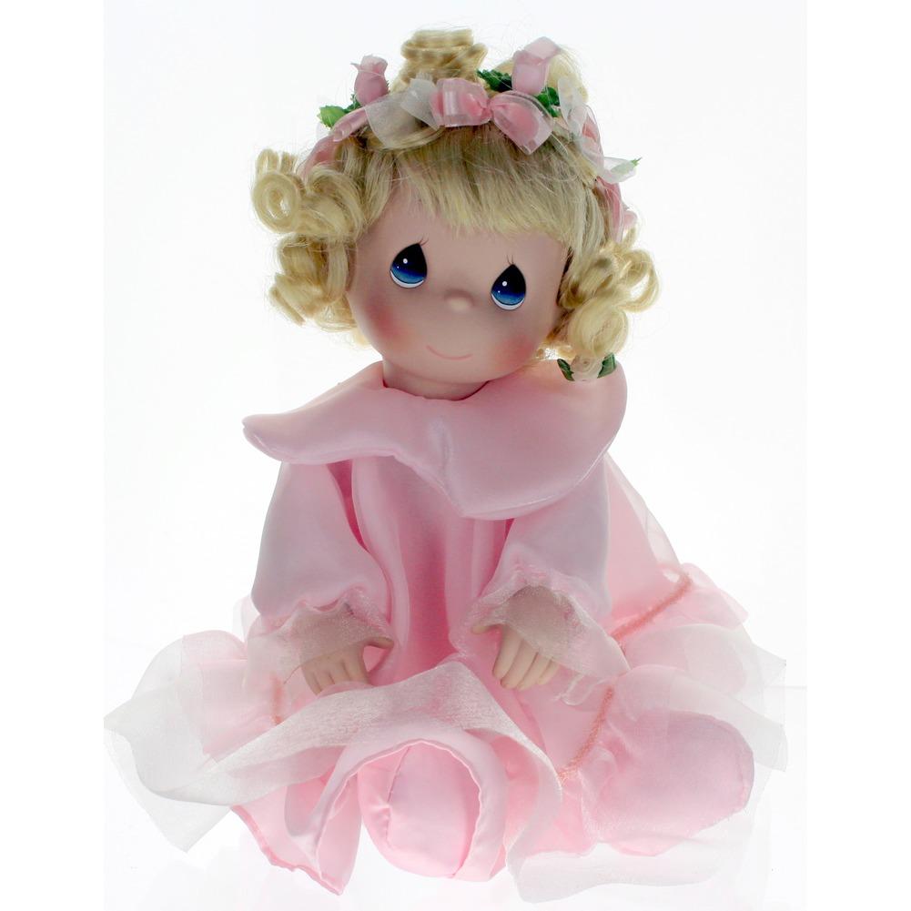 """Precious Moments Doll 10"""" Little Girl Shelf Sitter Blond Pink Dress"""