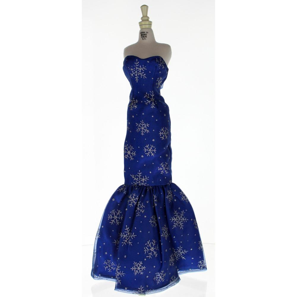 "Fits Robert Tonner Gene Tyler Alex Doll 16"" Royal Blue Snowflake Dress Gown"