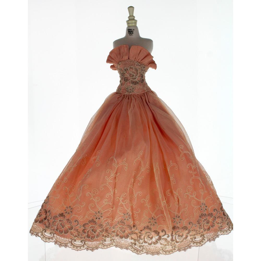 "Fits Robert Tonner American Model 20"" Peach Pink Formal Gown Dress"