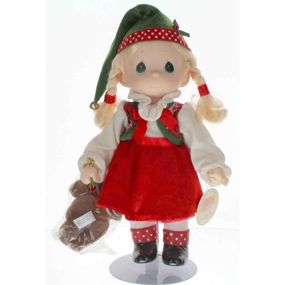 "Precious Moments Doll 12"" Little Girl Santa's Helper Elf with Teddy Bear"
