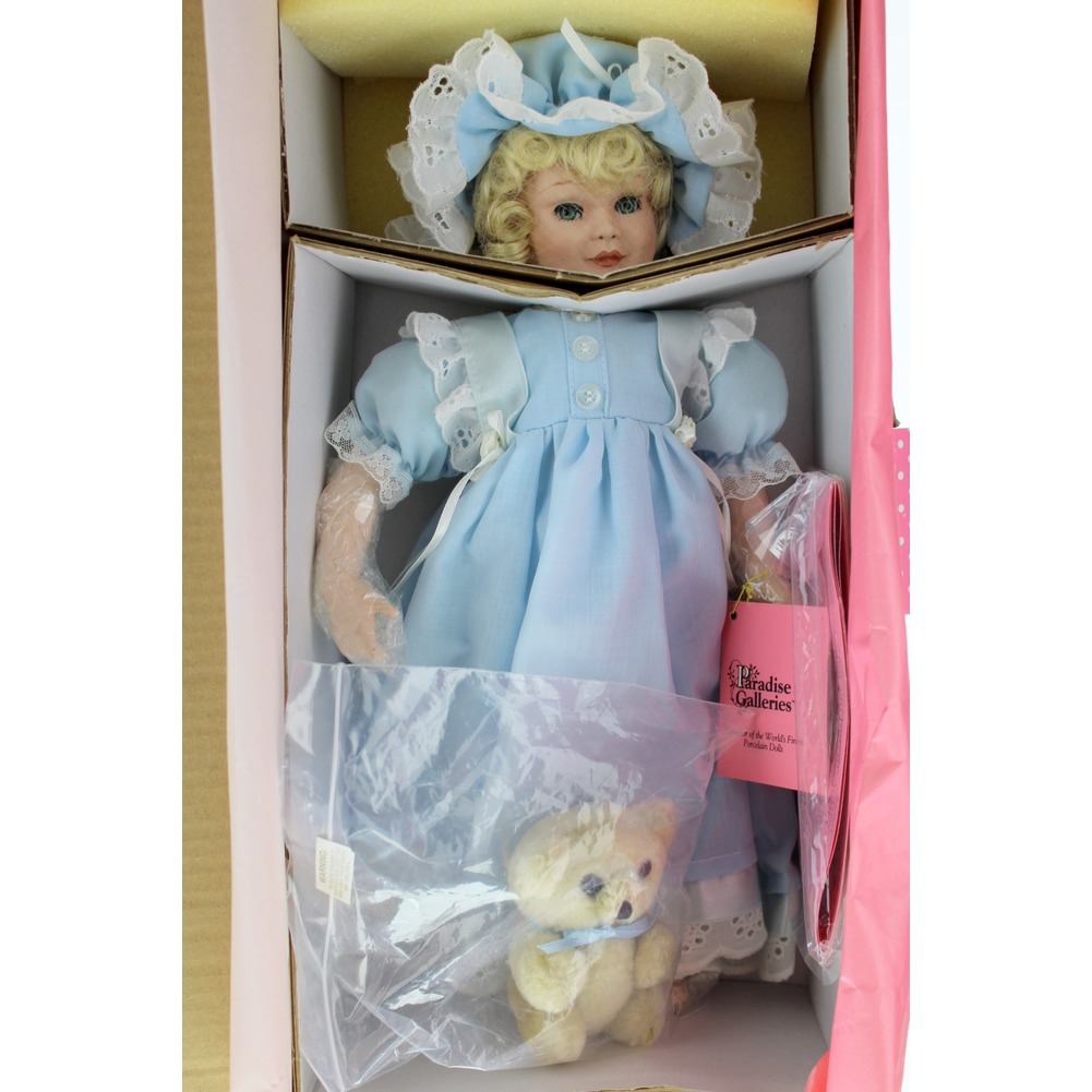 "Elizabeth and her Baby Bear Porcelain Doll 14"" tall Paradise Galleries Treasury"