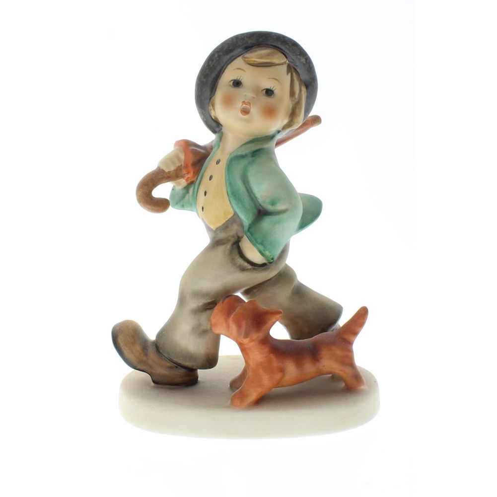 Goebel Hummel Figurine no 5 Strolling Along Little Boy and Dog Tmk 5