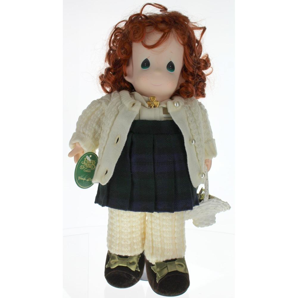 Precious Moments Classic Doll Bridget Red Head Irish Shamrock Tartan Skirt Tam