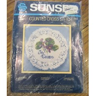 Sunset Je T'Aime My Love Violets Flower Counted Cross Stitch #983
