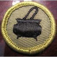Boy Scouts Cooking Patch Merit Badge Type G Cloth Back Black Pot