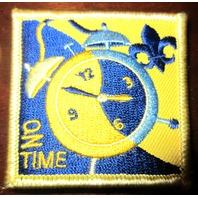 Uniform Patch Boy Scout Bsa On Time Blue And Gold Clock Fleur Di Lis