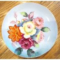 """Hand Painted Gorgeous Floral Garden 6"""" Dessert Plate Marked Japan Clover On Back"""