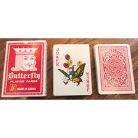 Butterfly Playing Cards Red Plastic Coated Deck With Box