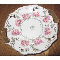 Vintage Lefton Rose Garden Handled Small Cake Plate Gold Dish