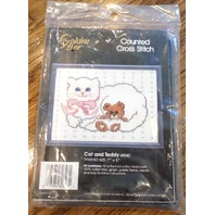 """1990 Golden Bee Counted Cross Stitch Kit -Cat And Teddy W/ Frame 5"""" X 7"""" Nip"""