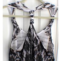 Studio Y Trendy Ruffle Layered Halter Back Lagenlook Lace Tank Polyester Sz L