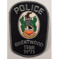 Police Brentwood Tennessee 1971 Uniform Patch #Pd-Gy