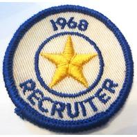 1968 Recruiter Star Gauze Backing Bsa Boy Scout Bsa Vintage Patch