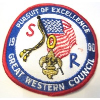Persuit Of Excellence 1980 Great Western  Oversized Bsa Boy Scout Uniform Patch