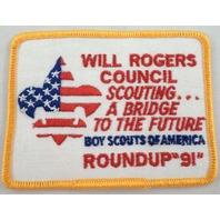 Uniform Patch Boy Scout Bsa  Will Rogers Council Bridge To The Future 1991 #Bsyl