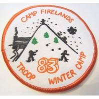 Camp Firelands Troop Winter 1983 Camp Oversized Bsa Boy Scout Uniform Patch