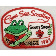 Uniform Patch Boy Scout Bsa Come See Scouting York District Show 1987  #Bsrd