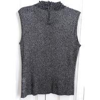 Investments Sz Xl Metallic Sleeveless Embellished Black Noir Sweater Top