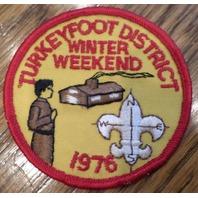 Vintage Boy Scouts Patch Bsa Turkeyfoot District Winter Weekend 1976