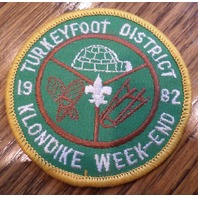 Vintage Boy Scouts Patch Bsa Turkeyfoot District Klondike 1982 Week-End