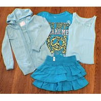 Justice Aqua New Sz 10 Skirt 3 Pc Lot- 3 Tops Sweater Tank Bff