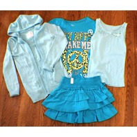 Justice Girls Aqua New Sz 10 Skirt 4 Pc Lot 3 Tops Sweater Easter