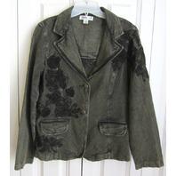 Coldwater Creek Pewter Black Embellished Denim Jeans Jacket Blazer Womens Sz 8