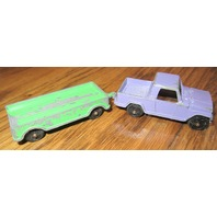 Vintage Tootsie Toy Green Purple Trailer and Panel Truck
