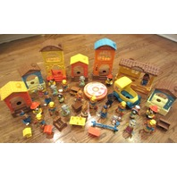 Vintage Hub-Bubs Lot 1975 Comfy Cottage & Fire Station School Home Store Etc...