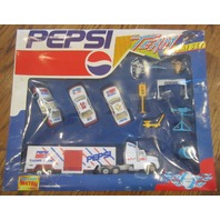 Vintage Pepsi-Cola Play Set Die-Cast Metal Cola Semi Truck Car Accessory box set