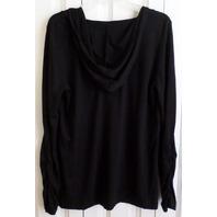 Balance Connection Ink Blot Black Hooded Shirred Sleeve Lagenlook Top Sz Xl