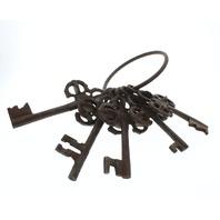 Rusty ornate Skeleton Castle Keys on a Ring Home Decor
