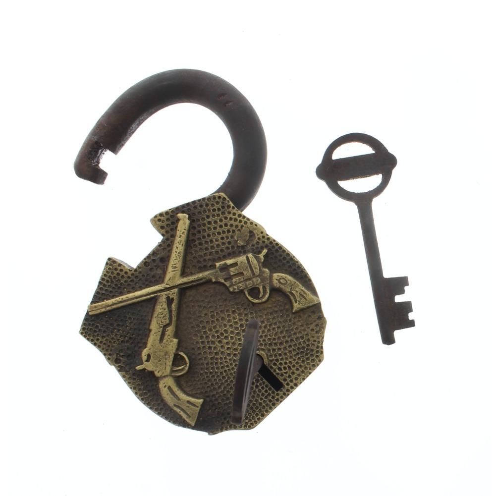 Cast Iron Working Padlock Crossed Guns Lock W/2 Keys Free Ship