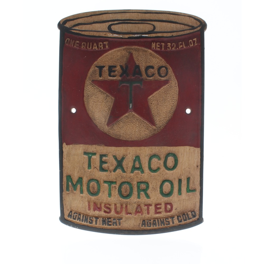 Texaco Motor Oil Solid Aluminum Decorative Metal Wall Plaque Garage Sign