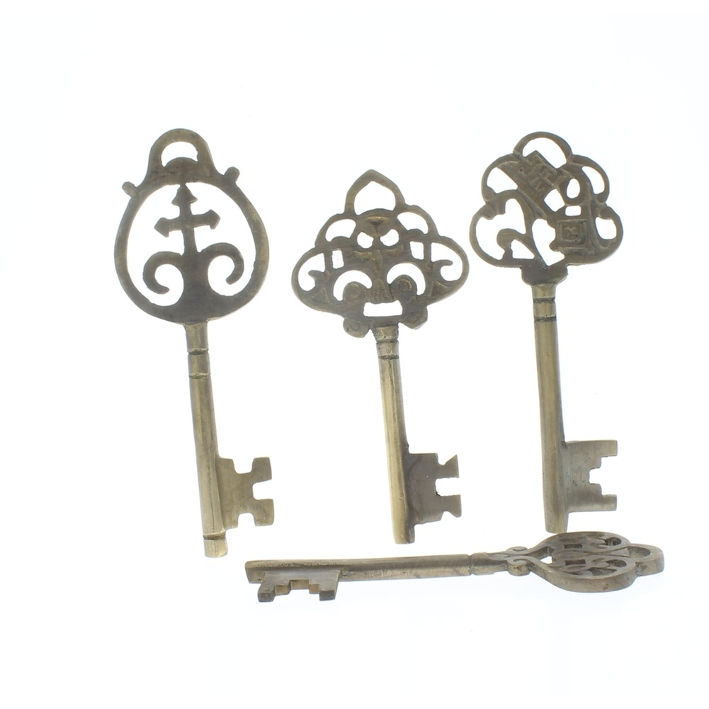 Set of 4 Brass Monetary Keys Vintage Patina  Replica Decor Key lot