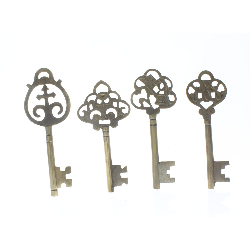 Set of 4 Brass Monetary Keys Vintage Patina  Replica Decor Key lot