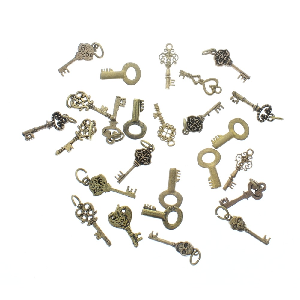 Lot of mini Brass Keys 25 pieces pcs miniature charm