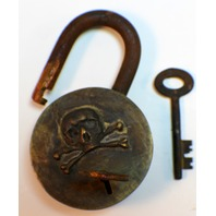 Pirate Lock And Key Set Solild Brass Antiqued Patina Raised Skull & Crossbones