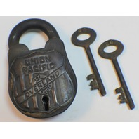 Union Pacific Railroad Lock And Key Set Solild Brass Antiqued Patina