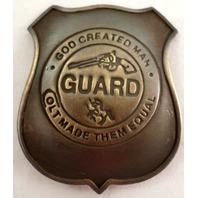 Guns And Ammo God Created Man Colt Made Them Equal Guard Badge Pin E-940