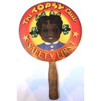 Vtg Black Americana Memorabilia Topsy Club Safety First Paper Advertising Fan