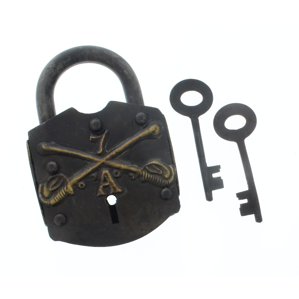 Cast Iron Working Padlock 7th Calvary Ammo Box Lock W/2 Keys Free Ship