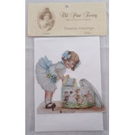 Victorian Turn Of The Century Happy Easter Card Movable Rivet Girl Child #Mgc009